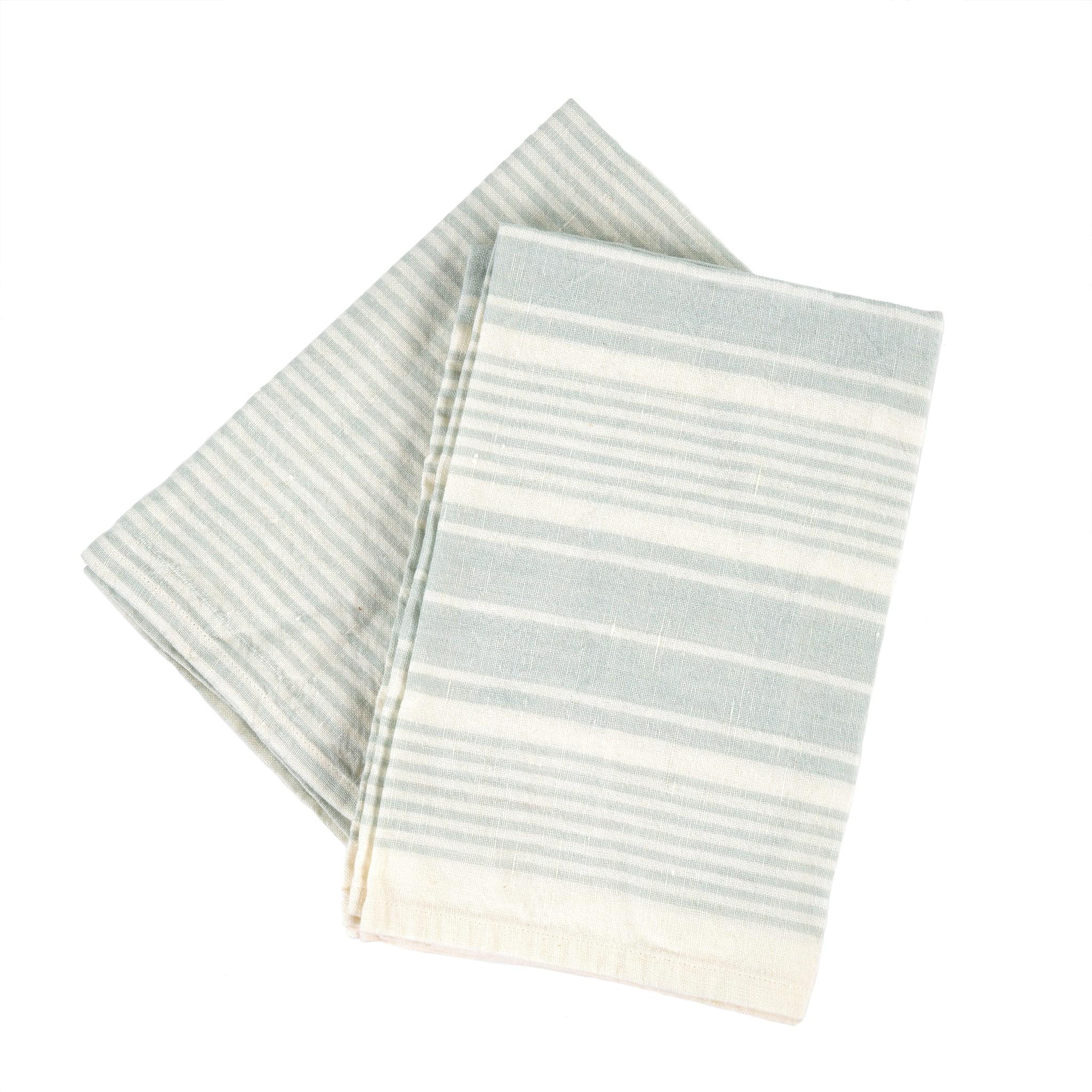 French Linen Tea Towels Aqua  (set of 2)